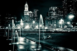 Greenway-Fountain-Custom-House-Tower-at-Night-Boston