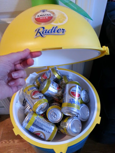 Lemon cooler filled with beer
