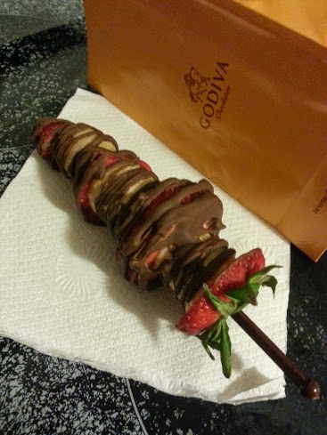 Godiva fruit and chocolate skewers
