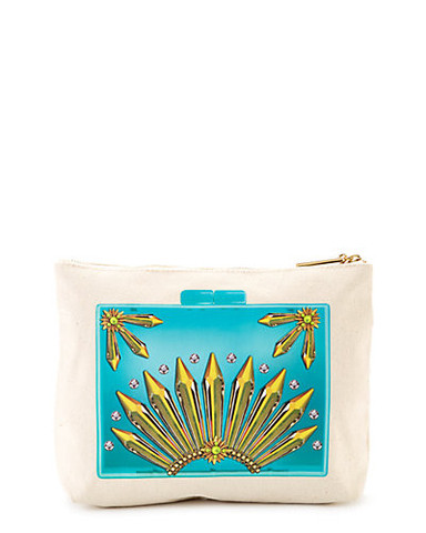 Jeweled Away Clutch, Turquoise