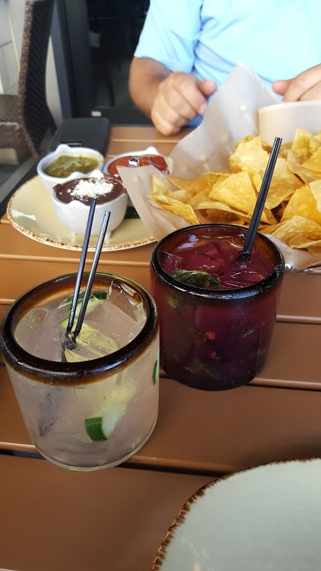 Margaritas and chips with salsa